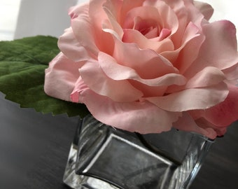 Single Rose with Square Vase