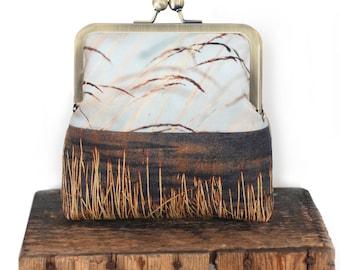 Cross-body shoulder bag with kisslock purse frame, grasses, reeds, loch, lake, natural landscape