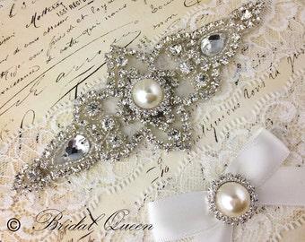 Wedding garter set,  Bridal Garter set, Lace Garter, Crystal Garter, Garter, Rhinestone Garter, White Garter
