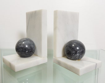 Set of 2 Vintage Modernist Alabaster White Gray Sphere Marble Italian Bookends