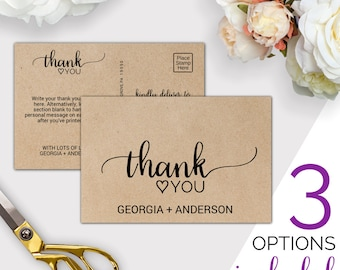 Wedding Thank You Template: Rustic Thank You Cards Printable, Simple Postcard, Notes & Folded Note Card, Instant Download Editable PDF K008