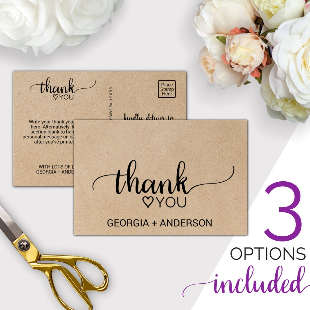 Wedding thank you template rustic thank you cards printable zoom aljukfo Gallery
