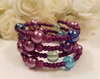 Wrap Around Bracelet, Purple Bracelet, Memory Wire Bracelet, Cuff Bracelet, Gift for Her, Magenta Eggplant Raspberry Burgundy