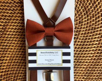 Burnt Orange Bow Tie, Baby Bow Tie, Orange Bow Tie, Toddler Bow Tie, Dark Orange Bow Tie, Suspenders and Bowtie Set- 6 Months to 5 Years Old