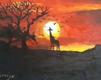 African Sunset Acrylic Miniature Painting