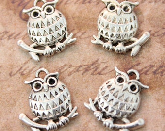 10 Owl Charms Owl Pendants Antiqued Tibetan Silver Double Sided 15 x 15mm
