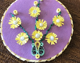 Handmade Paper Quilling Magnet:Yellow flowers