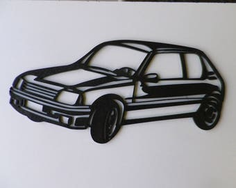 Plate teaches peugeot 205 GTI in painted iron