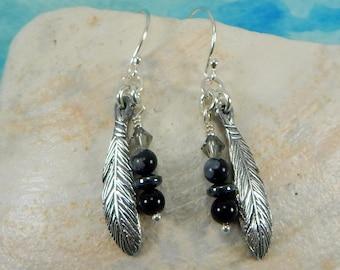 Feather Earrings, Inspirational Jewelry, Native American Earrings, Spirit Feather, Southwest Earrings, Fine Silver Earrings