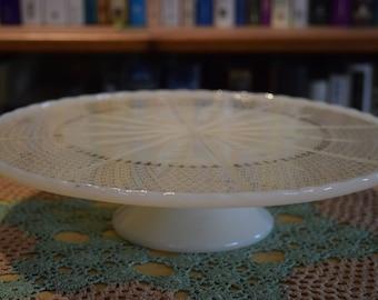 Milk Glass Pedestal Cake Stand Cake Plate Anchor Hocking 1950's
