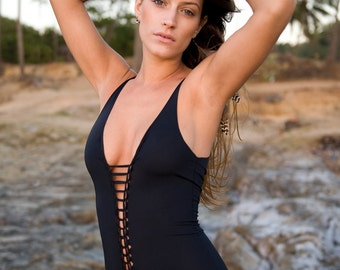 Black  Swimsuit , Swimwear , Beachwear , Bathing suit , One piece swimsuit , one size will fit sizes from 38-42