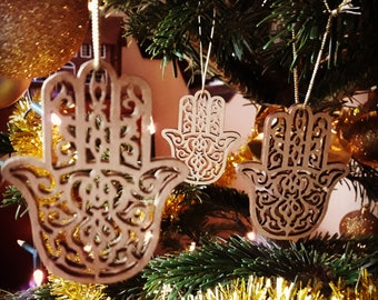 Set of 5 small hamsa decoration for hanging, hamza, holiday, present, pendant, for bags, purses