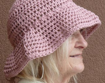 Women's chemo hat, soft cotton hat with a brim, light rose crochet hat, original, so very comfortable and a great sun hat, gift for her
