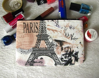 Vintage zippered pouch with Eiffel Tower, makeup bag, phone case, purse
