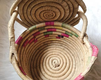 Colorful rope coiled basket / handmade coiled basket with lid