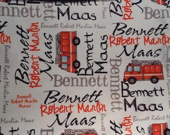 Personalized Baby Blanket, Monogrammed Baby Blanket, Swaddle, Receiving Blanket, Newborn, Baby Gift, Fire Truck Blanket, Baptism