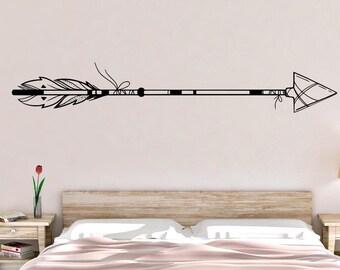 Arrow wall decal - arrow vinyl decal - arrow wall art - arrow decal - arrow wall decor - feather arrow decor - arrow vinyl wall decals