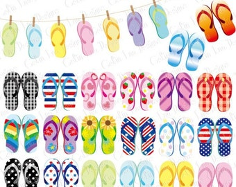Flip Flop Clip Art, Beach Sandals Clipart / Summer Party clipart / Personal & commercial use / INSTANT DOWNLOAD (CG156)