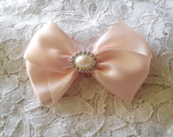 Blush Satin Hair Bow with Rhinestone Pearl Center, Blush Flower Girl Hair Bow, Pageant Hair Bow