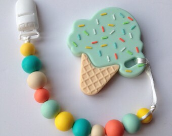 Silicone Pacifier Clip & Mint Ice Cream Teether - Soother Clip - Baby Girl / Boy - Binky Clip - Paci Clip - Chew Beads - Cute teether