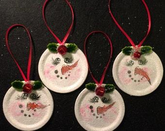 Mason Jar lid Snowman Ornament, Winter Ornament, Holiday Ornament, Handpainted Snowman Ornaments