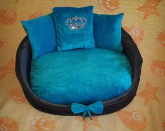 Blue Dog bed Cat bed Pet bed Blue bed Princess bed Luxury bed for cat Glamorous bed for  dog