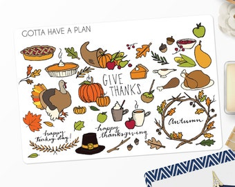 Planner Stickers Hand Drawn Traditional Thanksgiving Variety for Erin Condren, Happy Planner, Filofax, Scrapbooking