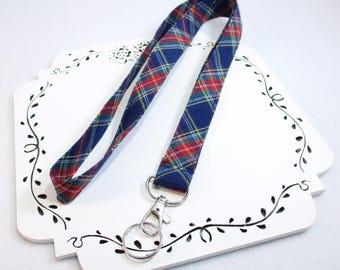 Tartan Lanyard, Navy Plaid ID Badge Holder, Custom Length, ID Holder, Teacher Badge Holder Lanyard, Co-worker Gift, Gift Under 10