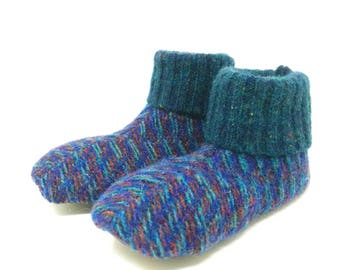 Waldorf Wool House Shoe, Shoe Size 8-10, Kid's Small, Toddler Age 3-4, Washable Wool Slippers, Sweater Slipper, Ready to Ship