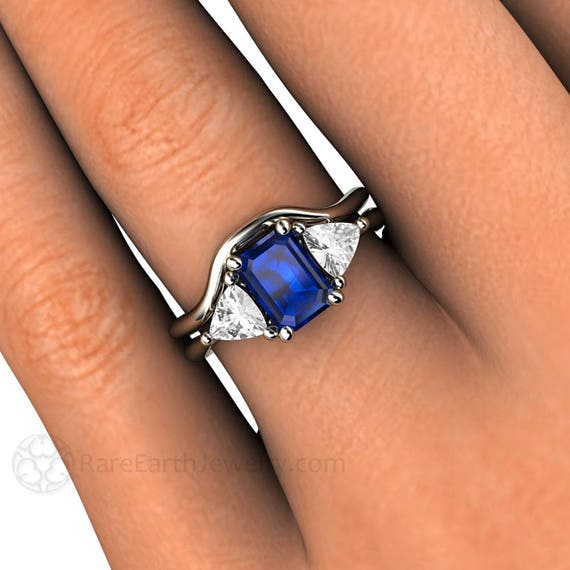 Blue Sapphire Engagement Ring Wedding Band Vintage Blue