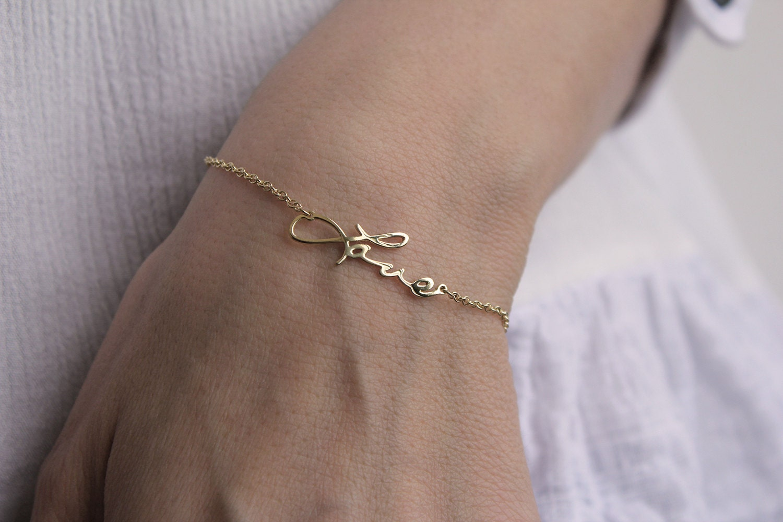 Memorial Bracelet 14k Gold Love Bracelet Signature Love
