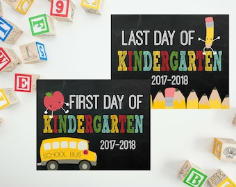 First day of Kindergarten - First Day of School Sign - Back To School - Last Day of Kindergarten - First Day Chalkboard Sign PRINTABLE 8x10
