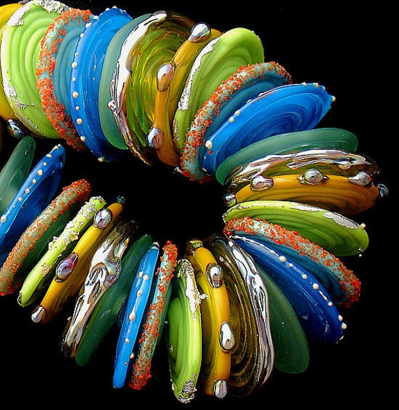 Lampwork Beads Handmade Lampwork Glass Beads For Jewelry Supplies Disc Beads For Bracelet Statement Necklace Summer Jewelry Debbie Sanders