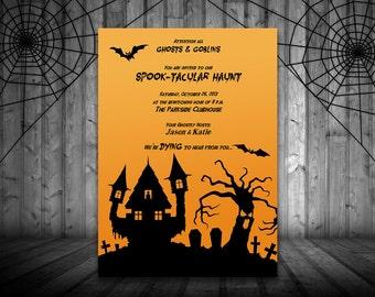 Halloween Haunt Party Invitation - Haunted House Invitation - Microsoft Word Template - Holiday Spooktacular Orange Black Spooky Invitation