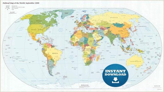Digital modern political world map hight printable download