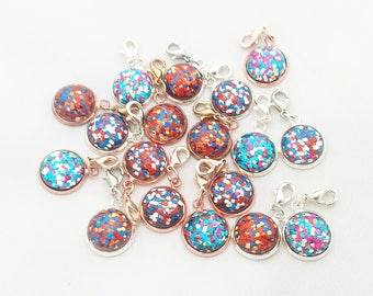 Glitter Stitch Markers// Resin Progress Keepers// Knitting Markers