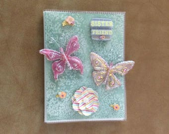 Beautifully Decorated Photo Album Cover - Butterflies and Sister/Friend