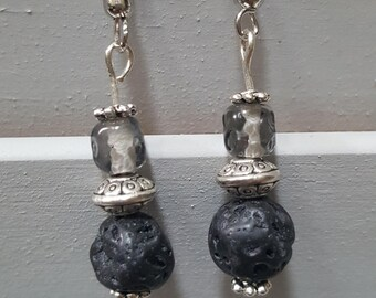 Basalt and Glass Earrings