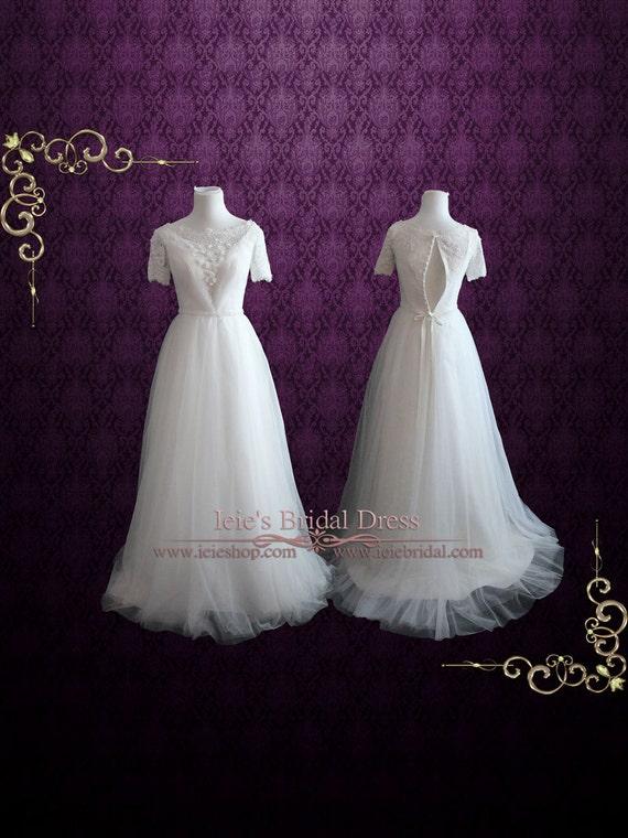 Wunderliche Vintage Style Modest Spitze Brautkleider mit