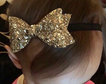 Gold Glitter Bow Headband or Hair Clip ~ 2 Sizes ~ Newborn / Baby / Toddler Girls