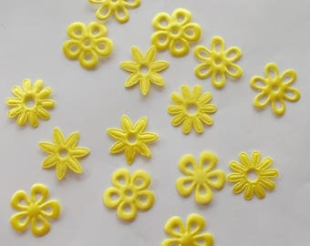 Satin yellow - 15 PIECES - APPLIQUE fabric for more scrapbooking flowers. 1010