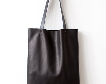 Simple Black Leather Tote bag No.Tl- 6022