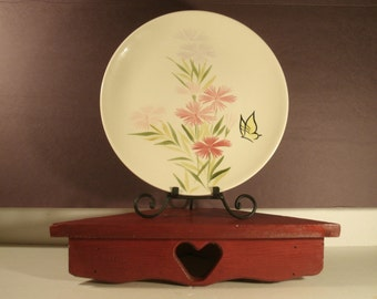 """Pair Redwing Plates Two Pink Spice Pattern 11"""" Vintage Dinner Plate 1940's Pottery Spring Flowers Pink Butterfly Retro Kitchen Dinnerware"""