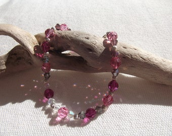 Pink-Purple Swarovski Crystal beads bracelet