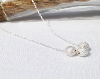 Silver Necklace - Silver Ball - Sterling Silver - Dainty Necklace - Delicate - Sparkle Ball Necklace - Everyday Necklace - Stardust ball