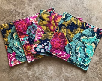 Quilted Coasters -- floral fabric