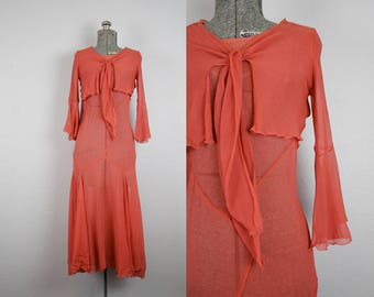 1930's Rust Chiffon Gown / Size Small