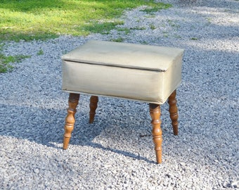 Vintage Sewing Chair Beige Vintage Vanity Seat with Storage Turned Wooden Legs Home Decor PanchosPorch
