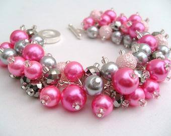 Candy Pink and Silver Bracelet, Pearl Bracelet, Bridesmaids Bracelet, Beaded Bracelet, Cluster Bracelet, Pearl Bracelet - Wedding Kim Smith