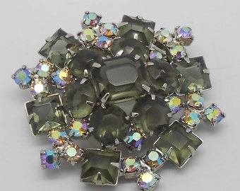 PRICE REDUCED!! Delizza Elster Vintage layered smoky black and aurora rhinestone brooch--open back
